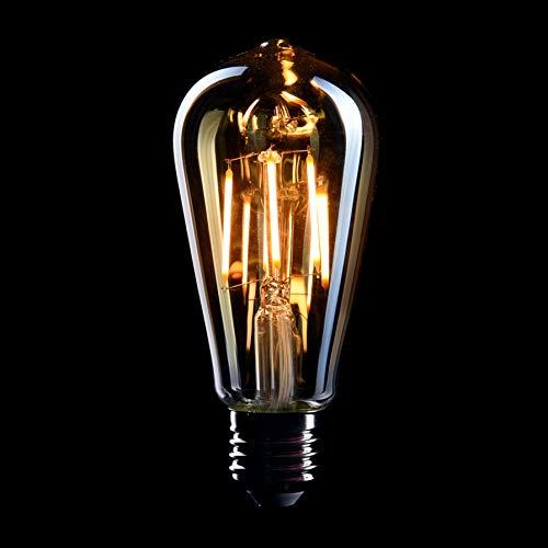 CROWN LED 6 x Edison Glühbirne E27 Fassung, Dimmbar, 4W, Warmweiß, 230V, EL01, Antike Filament Beleuchtung im Retro Vintage Look
