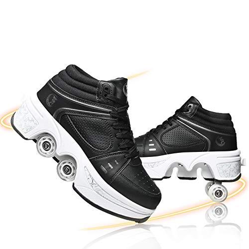 FBEST Deformación Patines De Ruedas Doble Fila Polea Zapatos Invisible Cuatro Rodillos 2 En 1 Retráctil Patines De Polea para Patinaje Caminar