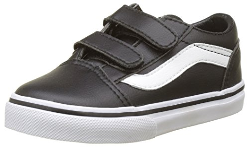 Vans Kids Old Skool V Skate Shoe Black/True White, 2 Little Kid