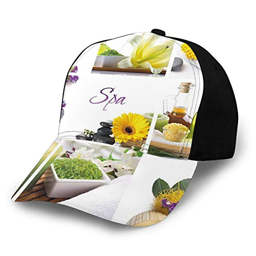 Unisex Spa Decor Yellow Happy Peaceful Spa Day with Flowers Candles and Herbal Oils Yellow Purple and White Fashion Plain Adjustable Baseball Cap Sun Cap