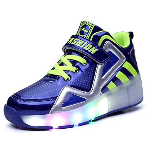 AMYMGLL Zapatillas Recargables USB Zapatos De Rodillos para Adultos Patines para Niños para Niños LED De Niños Zapatos De Rodillo Intermitente, Blue-30
