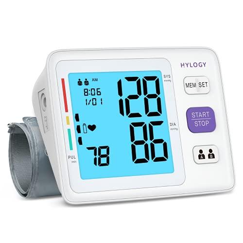 [2021] Misuratore di Pressione Digitale,HYLOGY Sfigmomanometro da Braccio Pressione Arteriosa,Domestica Rilevatore di Ipertensione e Aritmia,Grande Schermo LCD, 2*90 Memoria,22-42cm bracciale,USB