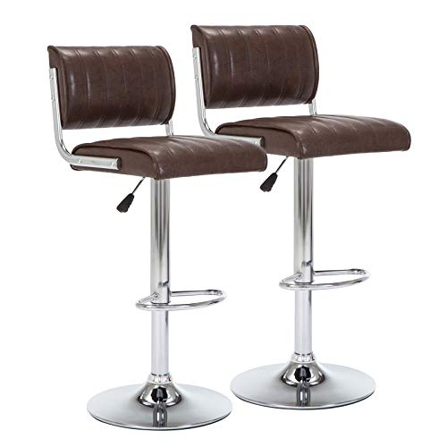 IntimaTe WM Heart Retro Bar Stools/Counter Stools Set of 2, Swivel Kitchen Breakfast Chair with Backs and Footrest (Brown)