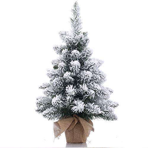 A-SZCXTOP Christmas Tree,1.8ft Snow Flocked Hinged Artificial Pine Christmas Tree,70 Branch Tips,Tabletop PVC Premium Full Tree,Desktop Tree Burlap Base,-20 Inch (50cm)