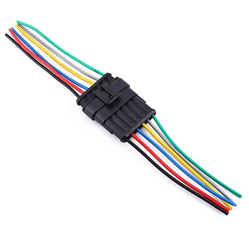 Keenso Auto 6-poliger Kabelverbinder, 6 Pin Versiegelter wasserdichter Stecker mit 10cm Kable für Motorrad Roller Auto LKW