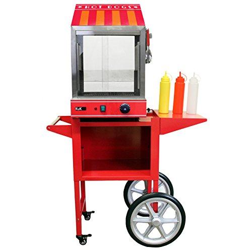 KuKoo - Máquina Eléctrica de Vapor para Perros Calientes de Acero Inoxidable con Carrito para Fiestas, Eventos, Festival, Fast-Food, Takeaway y Café