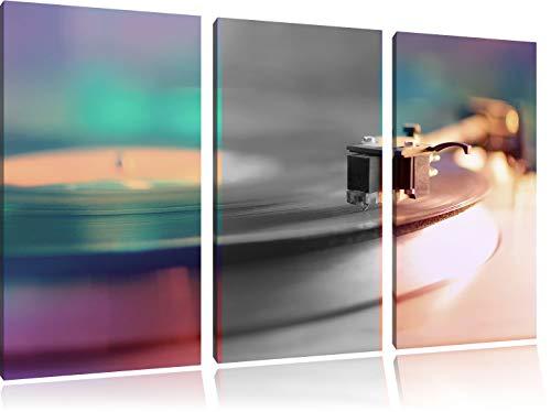 ouderwetse platenspelerFoto Canvas 3 deel | Maat: 120x80 cm | Wanddecoraties | Kunstdruk | Volledig gemonteerd