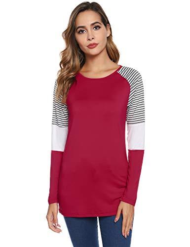 Hawiton Camisetas Mujer Manga Larga Basicas, Camiseta de Matorral, cómoda Cuello Redondo Raya Pullover Camisas Deportivas, Blusas de Corte Ajustado