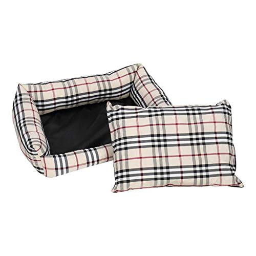 Pet Bed Dog Mat Cat Pad Plaid Khaki for Cats and Small Dogs (Size : 22')