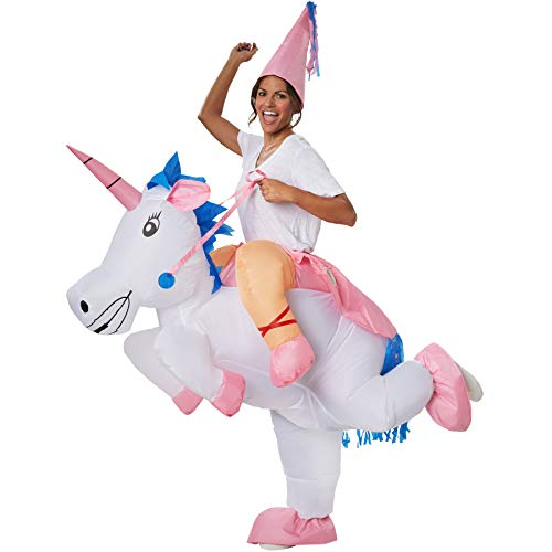 dressforfun 302350 - Aufblasbares Unisex Kostüm Einhorn, Buntes Einhornkostüm mit rosa Spitzenhut