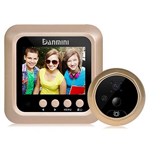 Ring video doorbell Danmini Q5 PIR 2.4 pulgadas de pantalla de la cámara de seguridad de 2.0MP No molestar mirilla visor, soporte TF tarjeta / visión nocturna / PIR detección de movimiento / sensor de