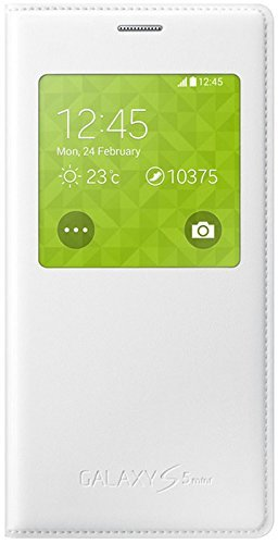 Samsung EF-CG800BWEGWW Custodia Flip S-View Cover per Galaxy S5 Mini, Bianco