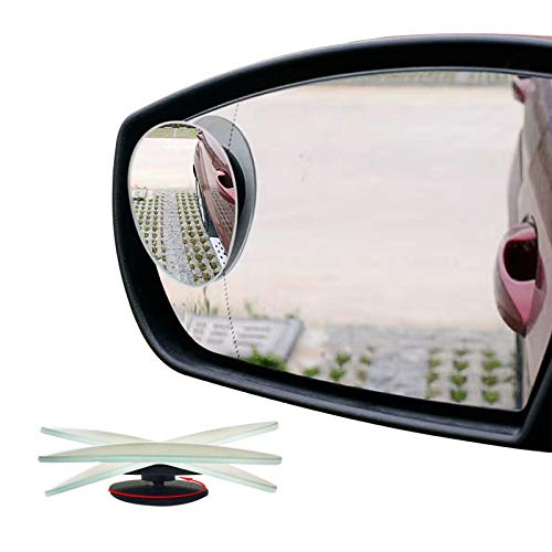 Ampper Oval Blind Spot Mirrors, Frameless 360 Degree Adjustabe HD Glass Convex Wide Angle Rear View...
