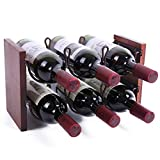 WILLOWDALE Countertop Wine Rack Tabletop Wine Bottle Holder Bottle Rack for Table Cabinet Storage, 2 Tiers Hold 6 Bottles, Wood & Metal (Bronze)