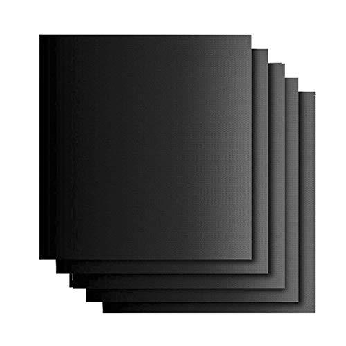 Conocimos BBQ Grillmatten Gasgrill Antihaft Grillplatten,5 Set BBQ Grillmatten Antihaft und Grillplatten zum Grillen,für Outdoor Indoor BBQ Holzkohle Gasgrill und Backofen,Schwarz 33 * 40 * 0.025cm
