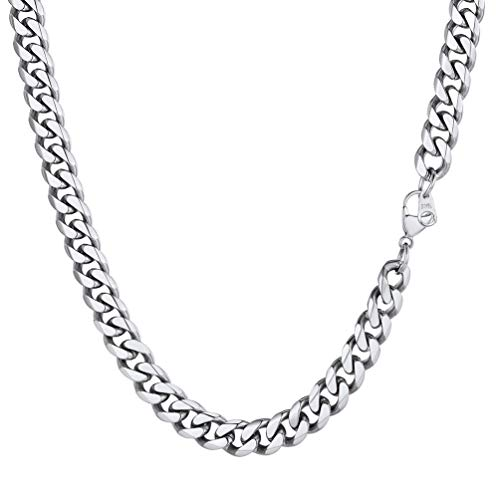 PROSTEEL 9mm Miami Mens Chain Boys Curb Cuban Link Stainless Steel Necklace Men's Silver