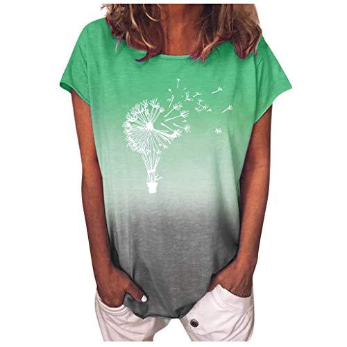 Lialbert Pusteblume Bedrucktes T Shirt Damen Farbverlauf Sonnenblume Kurzarm O Ausschnitt Blusen Komfortable Grafik Casual Tops Tee