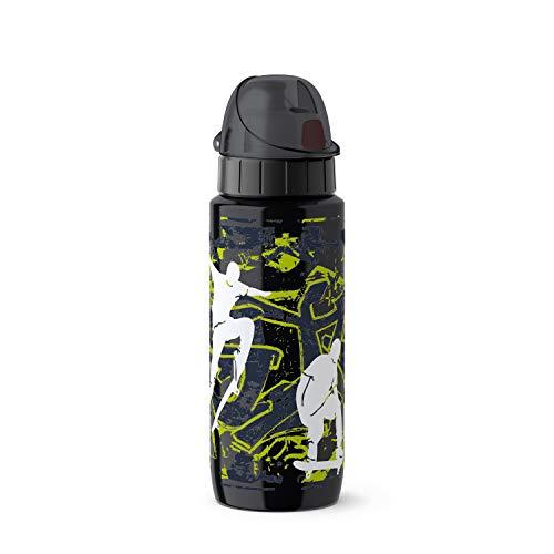 Emsa Light Steel 518363 Edelstahl Trinkflasche, 0,6 Liter, AutoClose Verschluss, Skateboard