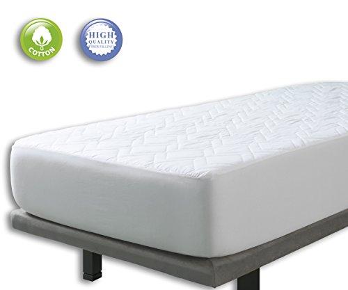 Velfont – Gepolsterte Matratzenauflage aus 100% Baumwolle zum Wenden – verfügbar in verschiedenen Größen - 140x190/200cm | Boxspringbett | Matratzenschoner | Matratzentopper