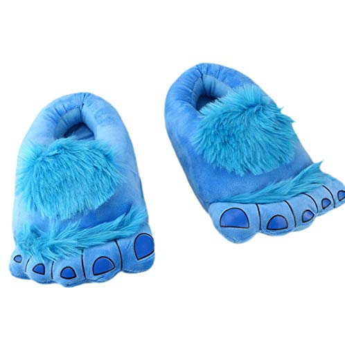 LANFIRE Zapatillas de Monster de Dibujos Animados Creativas de algodón Zapatillas de Felpa caseras Zapatillas de algodón cálido (Blue)