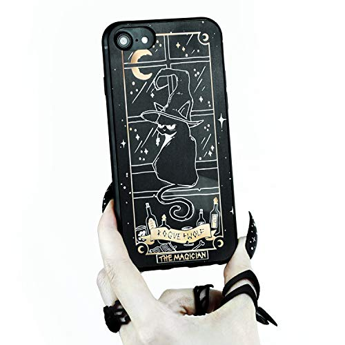 Rogue + Wolf Magician Tarot Card Phone Case with Metallic Gold Mirror Details Compatible with iPhone XR Cases Wiccan Goth