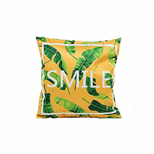 Hiseng Cushion Insert with Covers Included - (Silk Printing Zippered Pillow Case/Cushion Covers/Cushion Protector + Square Cushion Pads) - for Sofa Bedroom Home Decor (Yellow banana leaves,45x45cm)