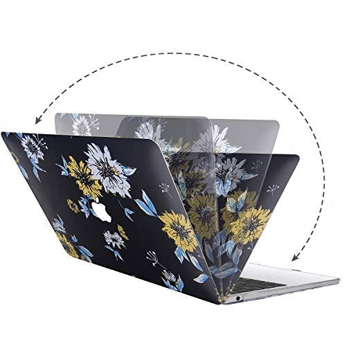Belk Hülle Kompatibel mit MacBook Air 13 Zoll 2020 2019 2018 mit Retina Display & Touch ID A2337 M1 A2179 A1932, Ultra Dünn Plastik Druck Muster Hartschale Schutzhülle Case & Tastaturschutz, Blume