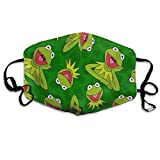 Soft Polyester Mouth Decoration for Women Men, Hiking - Kermit-The Frog Play Guitar Face and Nose Decoration, Adjustable Elastic Band, Home Or Commercial Use