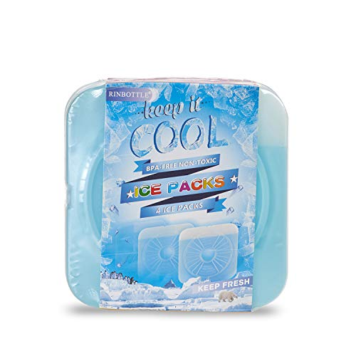 RINBOTTLE Ice Packs for Lunch Box Slim Reusable Freezer Dry Ice Pack for Coolers Keep Cold and Fresh for Outdoor Camping Picnic and Parties (Set of 8)