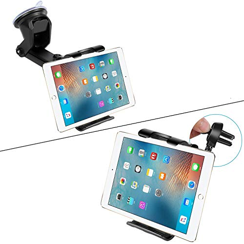 Car Tablet Mount for Windshield Window & Air Vent, 7'-10.5' Tablet Holder, 4.5'-6.5' Phone Mount, Compatible iPad Pro 10.5/Air/Mini/iPhone Xs/XS MAX/XR/X/8/8Plus/7/7Plus, Galaxy S7/S8/S10 etc (Black)