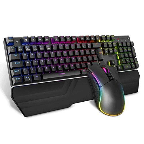MeiYing T6 Rainbow USB-gaming-toetsenbord met achtergrondverlichting en ergonomische multimedia-functies met 6 toetsen (zwart/199981-AV)