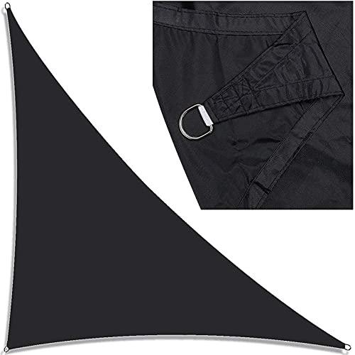 GDZHL Toldo Vela de Sombra Triangular, Impermeable Transpirable Protección Rayos UV Vela de Sombra, para Patio, Exteriores, Jardín (5x5x5m,Negro)
