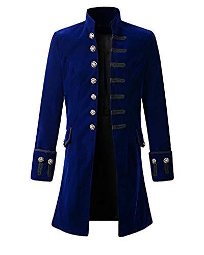 Hombres Chaqueta Traje Gotica Steampunk Vestido Victoriano Uniforme De Chaquetas Un Solo Pecho Abrigo Azul XL