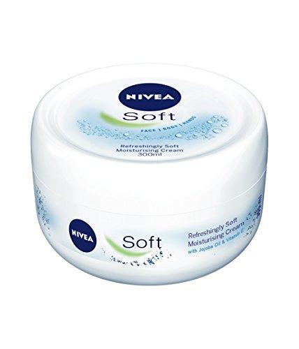 NIVEA Soft Crema Idratante Multiuso per Viso, Mani e Corpo, 1 x 300 ml, Crema Rinfrescantecon Vitamina E e Olio di Jojoba