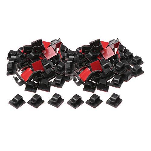 Shiwaki 100 Piezas de Clips de Cable autoadhesivos cableado Debajo del Escritorio Soporte de Cultura Abrazaderas gestión de Cables para Accesorios de Oficina - Negro