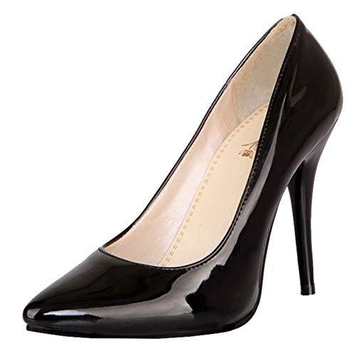 LUXMAX Decolte Donna con Tacco Alto a Spillo Sexy Scarpe Vernice Pumps High Heels Stiletto a Punta Slip-on Shoes (Nero) - 43 EU