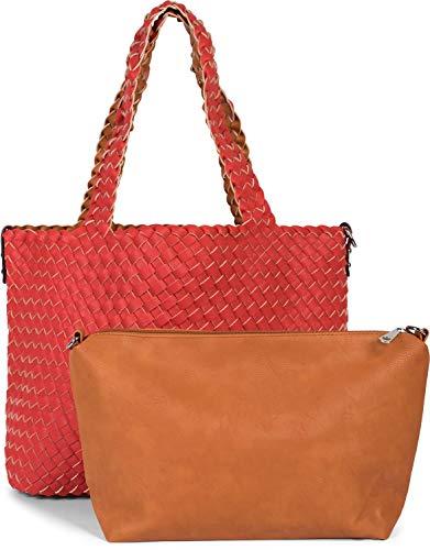 styleBREAKER XXL Wendetasche in Flecht-Optik, Shopper Tasche, 2 Taschen, Handtaschen Set, Bag in Bag, Schultertasche, Damen 02012163, Farbe:Rot/Cognac