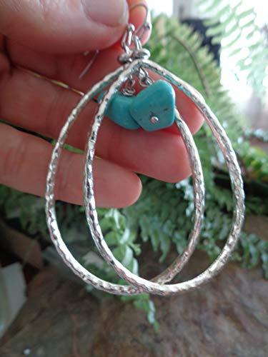 ⊹⊱  GOTAS MUY GRANDES DE PENDIENTES DE PIEDRA DE HOWLITA TURQUESA ETHNO  ⊰⊹ aretes enormes con piedra en pequeños ganchos para la oreja bien formados en azul claro, turquesa, joyería étnica
