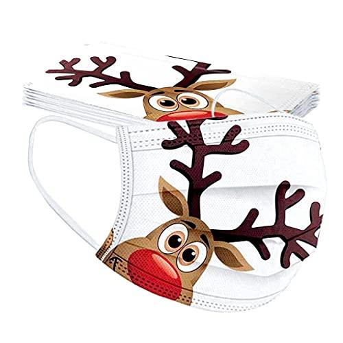 GJKK 10 Stück Einmal-Mundschutz, Weihnachten Erwachsene Mund Und Nasenschutz mit Motiv Bunt MNS Mund Nasenschutz 3 Lagig Atmungsaktiv Lustig Bandana Halstuch
