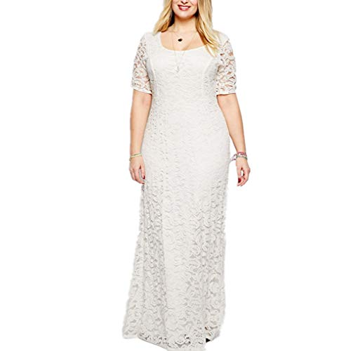 Janlyy Vestido de mujer de talla grande, de noche, boda, fiesta, de encaje, manga corta, cintura alta, talla grande