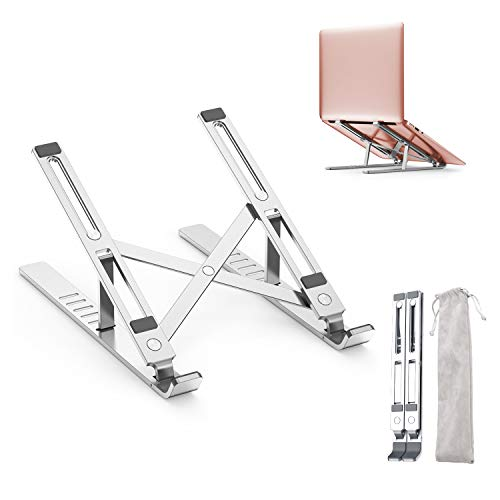 "Adjustable Laptop Stand, GUSGU Portable Aluminum Computer Holder Ergonomic Foldable Desktop Riser with 6 Levels Height Compatible with MacBook Air Pro, Dell XPS, More 10-15.6"" PC Notebook"