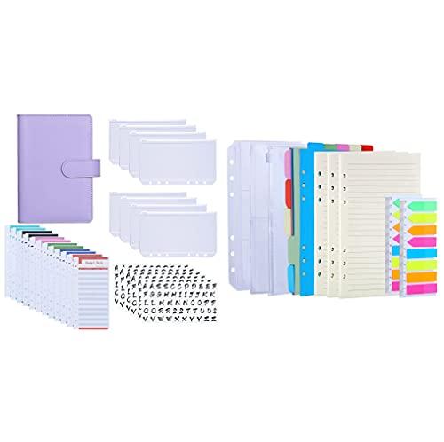 Antner A6 PU Leather Binder Expense Budget Sheets Letter Sticker Labels Cash Envelopes System (Purple) Bundle   A6 Refill Paper Kit