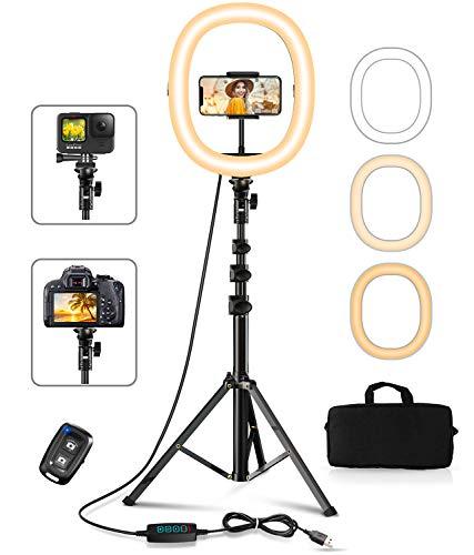 Cocoda Ringlicht mit Stativ, 12' Faltbares Ringleuchte mit Handy Stativ & Tragetasche & Fernbedienung, 3 Lichtmodi +10 Helligkeitsstufen, für Make-up, Fotografie, Live Streaming, Tiktok, YouTube, Vlog