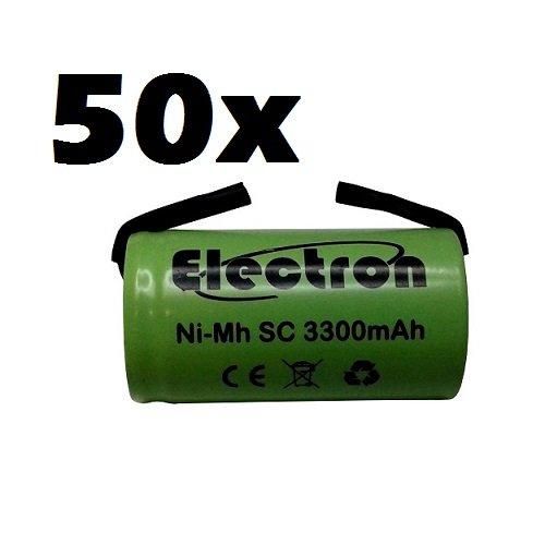 50 x Ni-MH SC 3300 mAh 3.3Ah 1,2 V met soldeerlamellen voor batterijen, boormachines, zaklampen