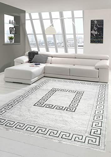 Moderner Teppich Orientteppich mit Glitzergarn mit Bordüre in Grau Größe 80 x 300 cm