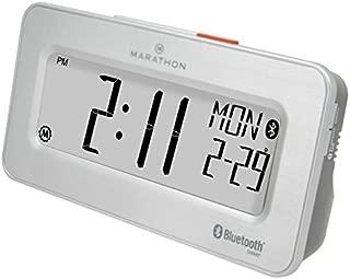 Marathon CL800002SH Atomic Bluetooth Alarm Clock System - Brushed Steel - Batteries Included
