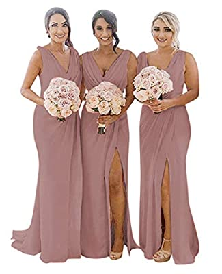 MARSEN Ruched V Neck Chiffon Bridesmaid Dresses Long for Wedding Formal Evening Dress with Slit Dusty Rose Size 12