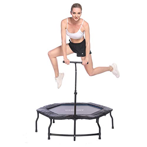 ANCHEER Mini Trampoline, Quiet and Safe Foldable Trampoline Rebounder, Stable for Kids Adults in Home/Garden/Office Cardio Trainer