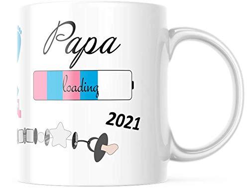 geschenke-fabrik.de - Tasse mit Spruch - Papa loading 2021 - Geschenke für werdende Väter / Geschenk für Schwangere - Schwangerschaft - Baby loading - Tasse Papa 2021 Geschenk