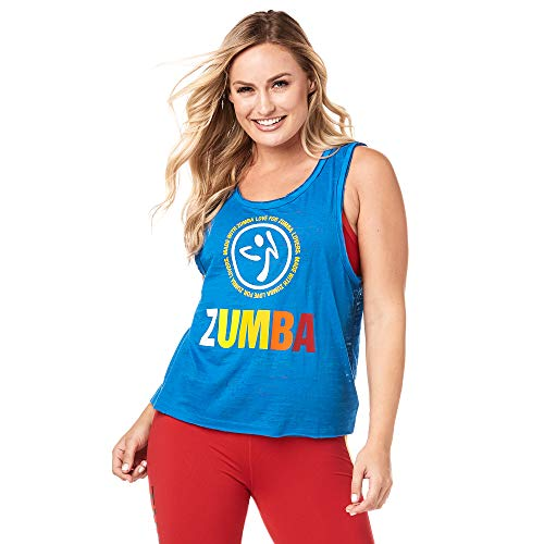 Zumba Aktiv Burnout Dance Workout Kleidung Damen Fitness-Tanktop mit Grafikdruck, True Blue, M
